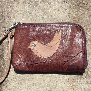 Fossil Bird Chickadee Leather Wristlet